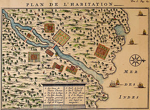 François Leguat - François Leguat's map of his settlement on Rodrigues. Rodrigues solitaires can be seen sprinkled all over the map