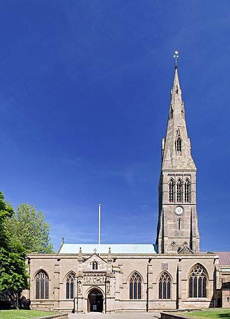 Broach spire - Image: Leicester Cathedral panorama