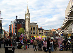 Leicester city centre, looking towards the Clock Tower