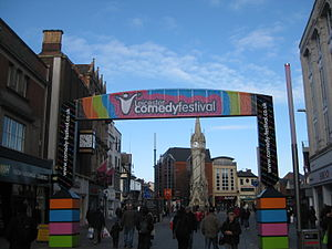 Leicester Comedy Festival - Promotional banner showing the Comedy Festival's logo