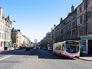 Leith Walk street in City of Edinburgh, Scotland, UK