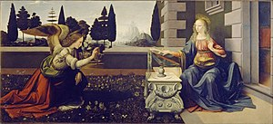 De pictura - The accurate perspective in Leonardo da Vinci's paintings such as his Annunciation (1475–1480) derives from Alberti's De pictura.
