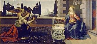 De pictura - The accurate perspective in Leonardo da Vinci's paintings such as his Annunciation (1475–1480) derives from Alberti's De pictura.