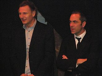 James Nesbitt - Nesbitt and his Five Minutes of Heaven co-star Liam Neeson at the closing of the Belfast Lyric in January 2008.