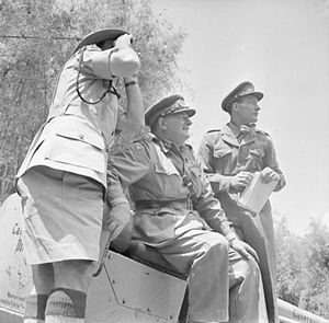 Mau Mau Uprising - Lieutenant General Sir George Erskine, Commander-in-Chief, British East Africa (centre), observing operations against the Mau Mau