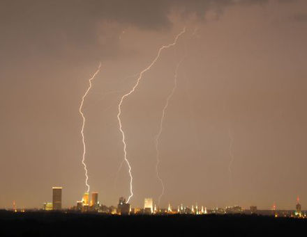 Lightning over downtown Tulsa is common in the spring months. Lightning over Tulsa cropped.jpg