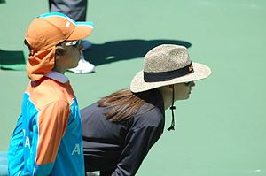 Ball boy - Ball boy (left) and line judge (right) during the 2005 Australian Open.