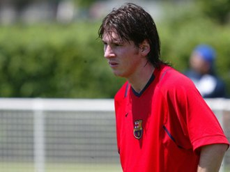 Lionel Messi - Messi during a training session with Barça in August 2006