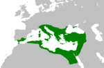 The Empire at its greatest extent under Justinian in 550