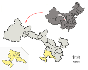 Gannan Tibetan Autonomous Prefecture - Image: Location of Gannan Prefecture within Gansu (China)