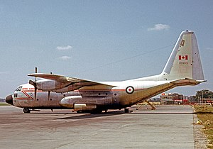 435 Transport and Rescue Squadron - Lockheed C-130B Hercules of 435 Squadron wearing the markings of the Royal Canadian Air Force Air Transport Command when at London Gatwick in 1966.