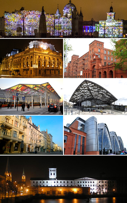 Left to right: Liberty Square ● Poznański Palace ● Manufaktura ● Former Power Station ● Łódź Fabryczna railway station ● Piotrkowska Street ● Tram transfer station ● University of Technology ● Atlas Arena ● White Factory