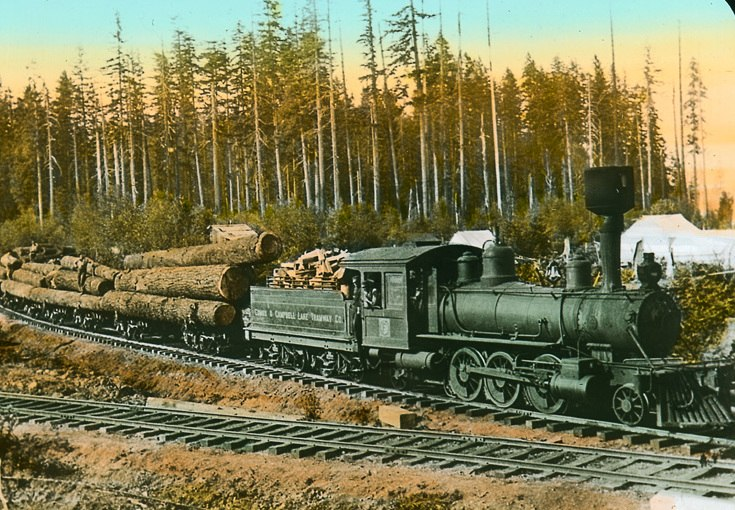 Logs being transported by the Comox %26 Campbell Lake Tramway Co., Vancouver Island, BC, about 1925