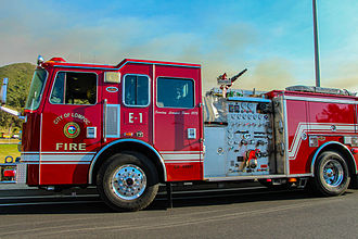 Lompoc Fire Department - Engine 1 providing structure protection during the Miguelito Fire in 2014.