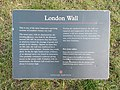 London Roman Wall - English Heritage plaque by Tower Hill gardens.jpg