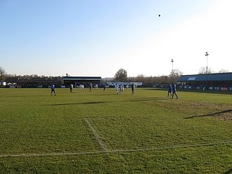 Tonbridge Angels F.C. - The Longmead Stadium from the Jack Maddams Stand. The West Stand is on the right.