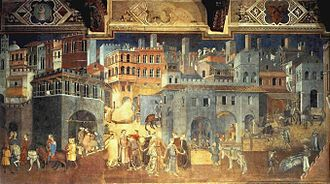 Medieval art - Detail of The Effects of Good Government, a fresco in the City Hall of Siena by Ambrogio Lorenzetti, 1338.