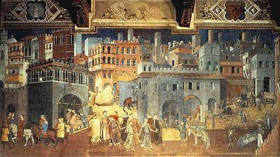 fresco in the City Hall of Siena by Ambrogio Lorenzetti, 1338