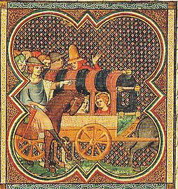 Enluminure montrant Louis et sa mère dans un chariot, suivi des grand du royaume à cheval.