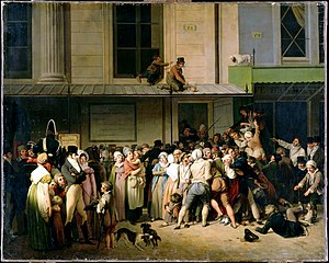 Théâtre de l'Ambigu-Comique - The entrance to the Théâtre de l'Ambigu-Comique on the day of a free show. Louis-Léopold Boilly (1819)