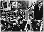 Louis Stulberg looks on as Hubert H. Humphrey gives a speech during his November 15, 1968 presidential campaign. (5278459275).jpg