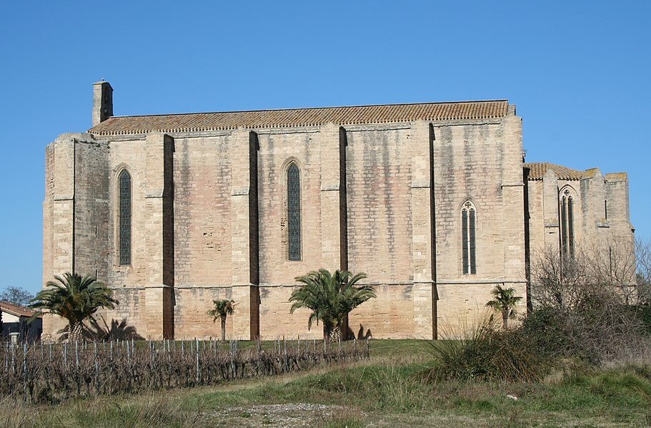 Loupian (Hérault) - église Sainte-Cécile, façade méridionale.