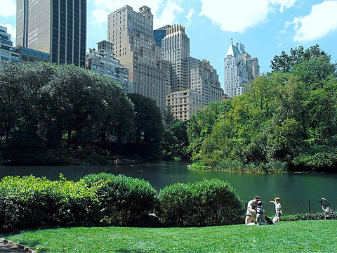 Skyscrapers abut the southern border of Central Park Lower Central Park Shot 5.JPG