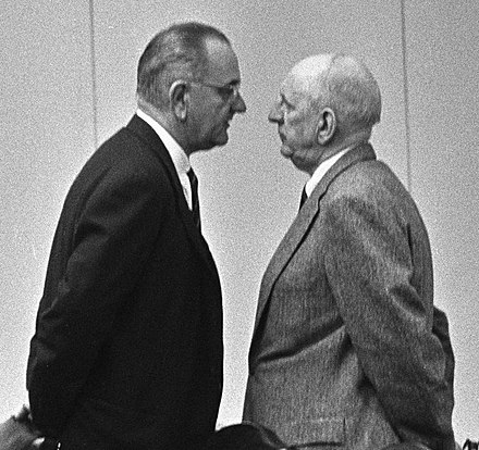 "Johnson giving ""The Treatment"" to Senator Richard Russell Lyndon Johnson and Richard Russell cropped.jpg"