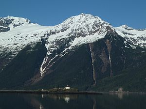 Lynn Canal - Eldred Rock and avalanche chutes in Lynn Canal