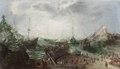 Måleri. Hamnbild. Skepp - Skoklosters slott - 88959.tif
