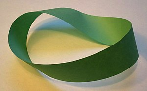 Möbius strip - A Möbius strip made with a piece of paper and tape. If an ant were to crawl along the length of this strip, it would return to its starting point having traversed the entire length of the strip (on both sides of the original paper) without ever crossing an edge.