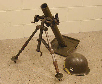 M2 mortar - World War II era 60 mm U.S. M2 Mortar, G.I. helmet shown for scale