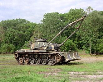 M728 Combat Engineer Vehicle - The M728 CEV with a M9 Dozer Blade Assembly and the A-frame crane boom deployed
