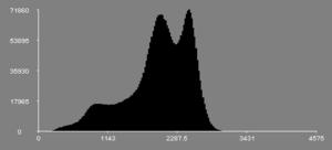 هیستوگرام تصویر T1فیلتر شده از یک مغز، پردازش شده توسط نرمافزارمانگو.