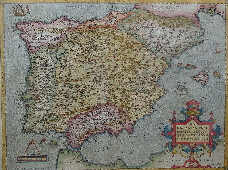 MAPA DE ESPAÑA EN 1570
