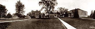 History of Michigan State University - MSU's Laboratory Row in 1912: Horticulture, Bacteriology, Botany, Dairy, Entomology, and Agriculture. All but Agriculture Hall have since been renamed.