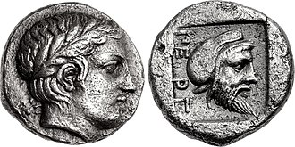 "Pergamon - Possible coinage of the Greek ruler Gongylos, wearing the Persian cap on the reverse, as ruler of Pergamon for the Achaemenid Empire. Pergamon, Mysia, circa 450 BCE. The name of the city ΠΕΡΓ (""PERG""), appears for the first on this coinage, and is the first evidence for the name of the city."