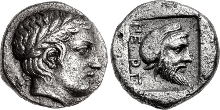 "Possible coinage of the Greek ruler Gongylos, wearing the Persian cap on the reverse, as ruler of Pergamon for the Achaemenid Empire. Pergamon, Mysia, circa 450 BC. The name of the city ΠΕΡΓ (""PERG""), appears for the first on this coinage, and is the first evidence for the name of the city.[11]"