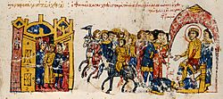 Le captif Thomas est conduit hors d'une forteresse enchaînée et forcé de se prosterner devant l'empereur