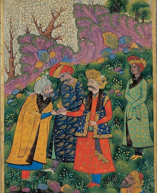 Mahmud of Ghazni (in red robe), shaking hands with a sheikh, with his companion Malik Ayaz standing behind him. (1515) Mahmud and Ayaz and Shah Abbas I.jpg