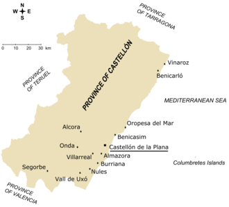 Province of Castellón - Towns with a population greater than 7,000 in the province of Castellón (according to 2005 census)