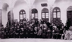 Amanollah Khan Zia' os-Soltan - The Iranian deputies forming the first parliament (majles), 1906.Sitting second from right is Zia' os-Soltan.