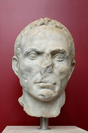 Luni, Italy - Male portrait. Luni marble, Roman artwork of the period of the Second Triumvirate (43 BC).