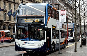 Greater Manchester bus route 192 - Stagecoach Manchester Alexander Dennis Enviro400 at Piccadilly Gardens in February 2009