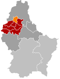 Map of Luxembourg with Eschweiler highlighted in orange, the district in dark grey, and the canton in dark red