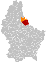 Map of Luxembourg with Putscheid highlighted in orange, the district in dark grey, and the canton in dark red