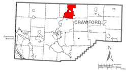 Location of Cambridge Township in Crawford County