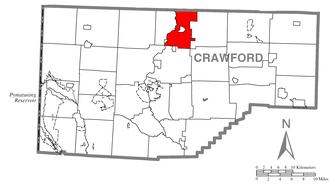 Cambridge Township, Crawford County, Pennsylvania - Image: Map of Cambridge Township, Crawford County, Pennsylvania Highlighted