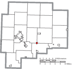Location of Lore City in Guernsey County