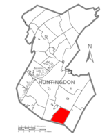 Map of Huntingdon County, Pennsylvania Highlighting Springfield Township
